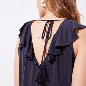 AT Loft Soft Black Keyhole Ruffle A-Line Dress S